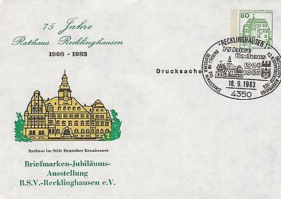 (36557) Germany Cover Postal Stationery Reklinghausen Town Hall Rathaus 1983 on Lookza