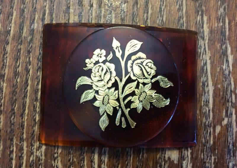 Vintage Tiptoe France Made Cognac Gold Floral Old Plastic Bakelite? Shoe Clip