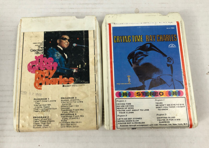 Ray Charles 8 Track Tapes Greatest Hits - Crying Time Soul/Jazz Lot Of 2