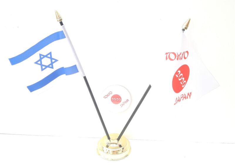 Isreal & Tokyo Japan Olympics 2020 Desk Flags & 59mm BadgeSet