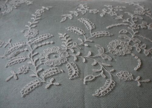 Antique English Floral White Net Tulle Lace Large Fragments ~ cutters