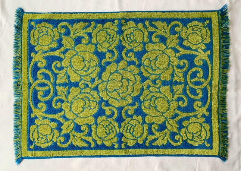 Fieldcrest Vintage Hand Towel Sculpted Green & Blue Floral Design Terrycloth