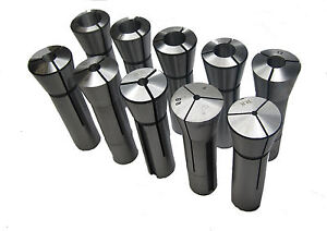 RDGTOOLS  10PC R8 COLLET SET FOR BRIDGEPORT METRIC COLLETTS