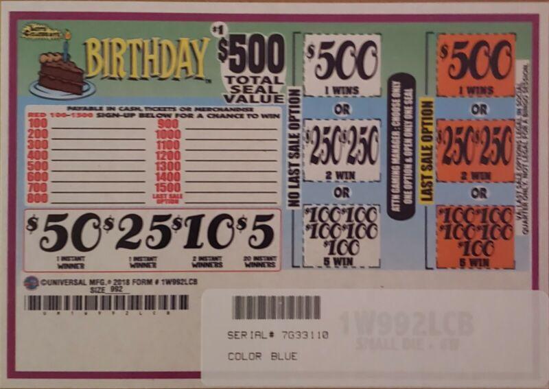Pull Tabs 1 Window 992 Tickets  profit 297