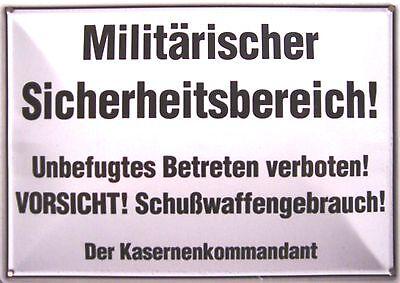 Militär Sicherheitsbereich Funschild Blechpostkarte Blechschild 10,5 x 14,8 cm