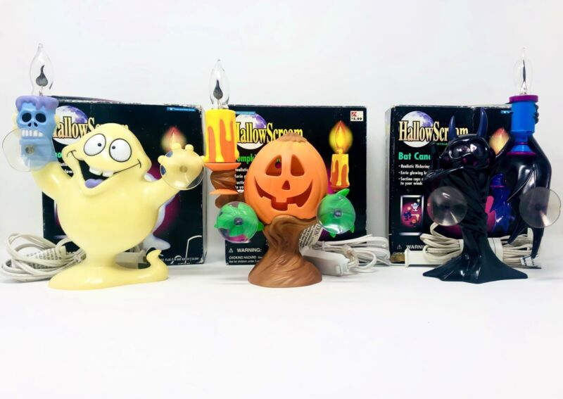 Vintage 90's HALLOWSCREAM Ghost, Pumpkin & Bat Halloween Candelabra Decorations!