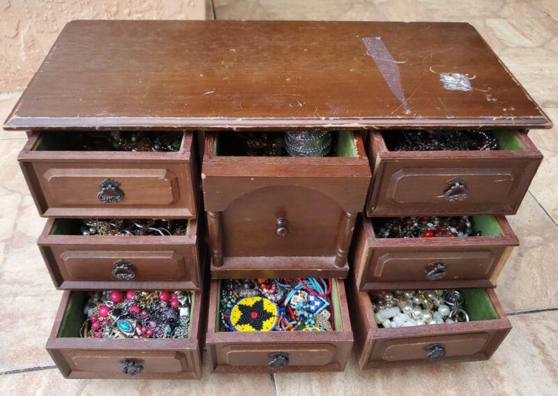 Estate Sale Vintage Jewelry Box Stuffed W/ Untested Jewelry Lot Secret Drawer