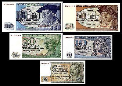 2x 5,10,20,50,100 Deutsche Mark Ersatznoten für West-Berlin BBK II- 10 Banknoten