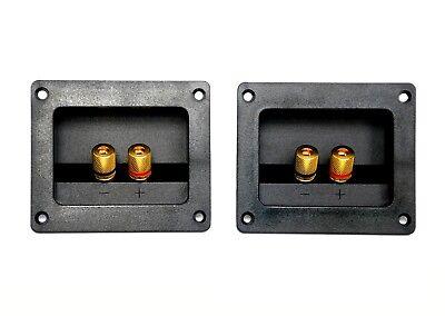 1pair Oblong Box Speaker Inlet Set Golden Pins 2pin Terminal Binding Post