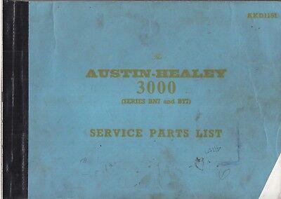 AUSTIN HEALEY 3000 MK1 MK2 BN7 BT7 SERIES '59-62 FACTORY SERVICE PARTS CATALOGUE