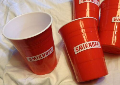 (4) Smirnoff Heavy Plastic Solo 12 Ounce Cups - Red - Reusable ....NEW