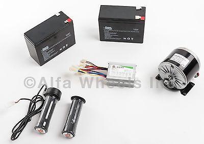 350w 24v Dc Electric Motor Kit W Sla Batteries Speed Controller Throttle