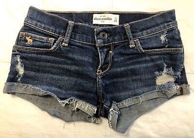 Girls Dark Blue Abercrombie Kids Sz 12 Distressed Stretch Denim Jean Shorts EUC