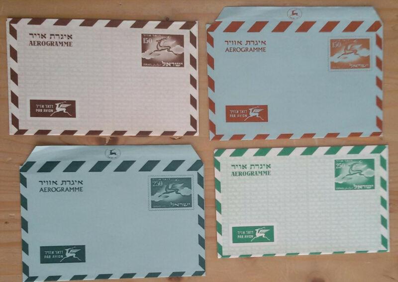 Israel 4 Aerogramme / Luftpostbriefe je ungebraucht ; #o994