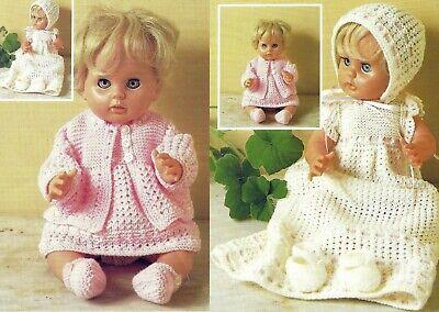 2 SETS DOLLS CLOTHES BABY ALIVE TINY TEARS PREM BABY KNITTING PATTERN (1782)