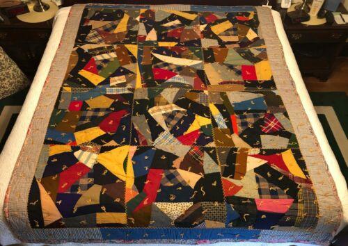 """Vintage Antique 1910 Crazy Quilt Comforter 87"""" x 67"""" Feather Stitch Gettysburg"""