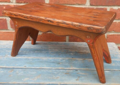 Nice 19th Cen. Square Nailed Splayed Footstool With Cut Out Bootjack Ends