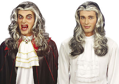 Lange Schwarze Haare, Perücke Halloween (Halloween Dracula Vampir Herren Perücke Barock Mittelalter Langhaar schwarz grau)
