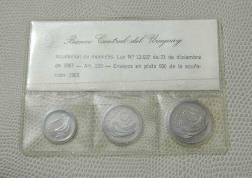 1969 Uruguay Silver Specimen Cameo Proof Set - Choice Condition