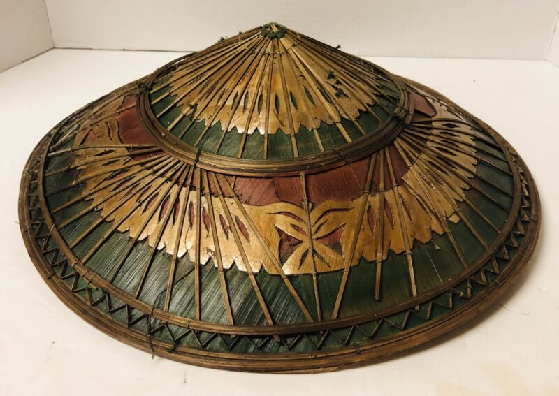 Vtg Asian Handmade Bamboo Wood Plant Leaf Lining Conical Coolie Hat