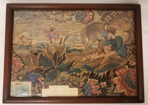 Antique 18th Century Glazed Chintz Fabric Fragment