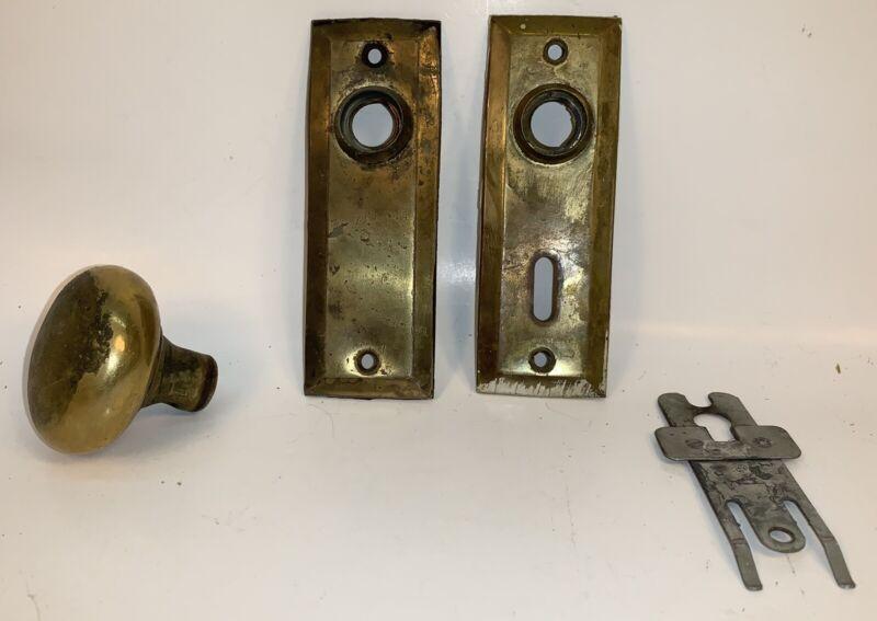 2- Brass Key Hole Cover Escutcheon Plates + One Knob