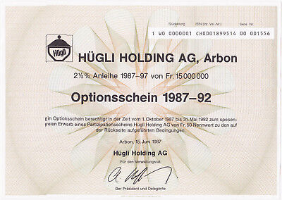 Optionsschein 1987-1992-Hügli Holding AG-Arbon
