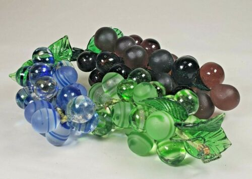 Set of 3 Glass Grapes, Blue Swirl, Green Swirl and Purple Glass Grapes