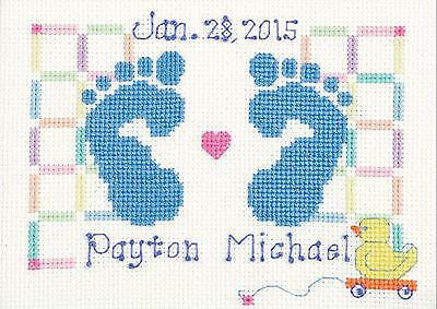 Cross Stitch Kit ~ Janlynn Baby Feet Birth Record (For a Boy or Girl)  #3051-18 Baby Boy Birth Record