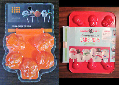NEW 2 sets of cake pop molds/press/pan, one for Halloween, one Christmas ](Halloween Cake Pop Pans)