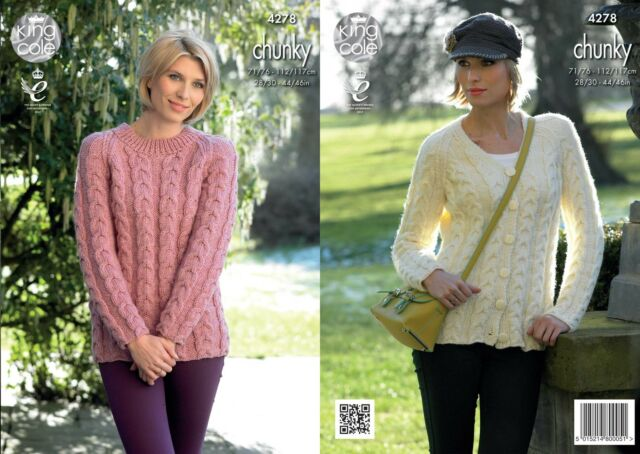 King Cole 4278 Knitting Pattern Cabled Raglan Cardigan & Sweater in Chunky