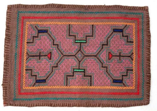 """Shipibo Peruvian Amazon Hand Embroidered Textile Tapestry 9"""" x 13"""""""