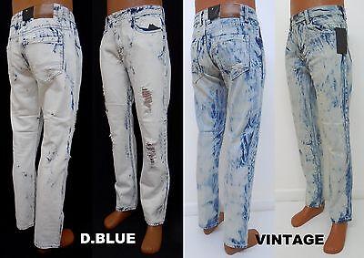 Bleach Wash Denim (Men's IMPERIOUS Blue Vintage wash denim bleach distressed jeans style DP517)