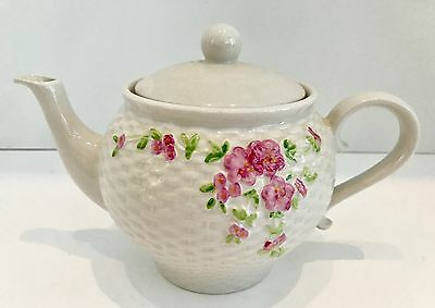Vintage 1985 Teleflora Gift Teapot Basket Weave Texture and Pink Flowers