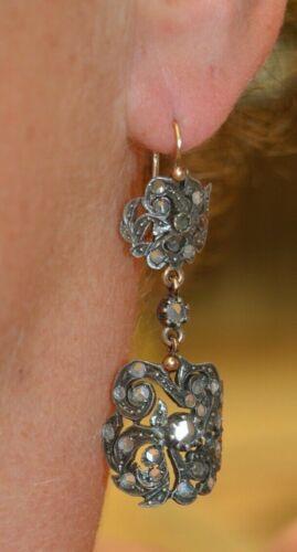 Victorian 14K & Sterling Silver White Sapphire Dangle Drop Earrings
