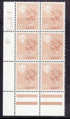 SCOTLAND WADDINGTON 13p CHESTNUT CYL 1A1B x 6 NO DOT  MNH