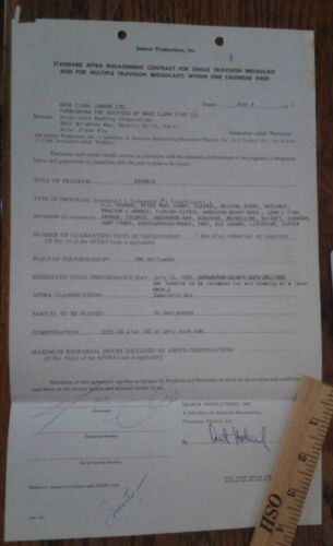 DAVE CLARK FIVE Original signed contract document SHINDIG TV 1965 AUTOGRAPH