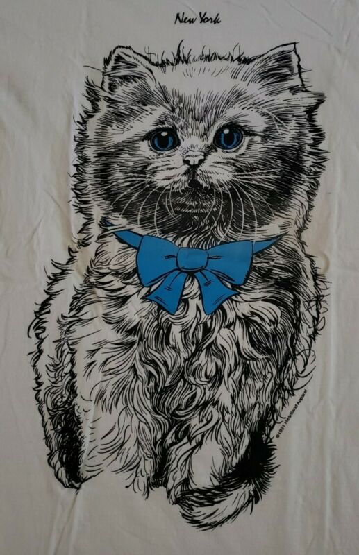 Blue Bow Tie On Blue Eyed Cat 1991 Vintage T-Shirt By Heartland Apparel!