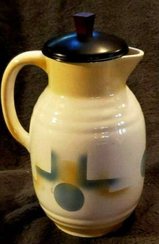 AIRBRUSHED Pitcher & lid Spritzdekor GERMAN BAUHAUS CERAMIC CUBIST ART DECO 20s