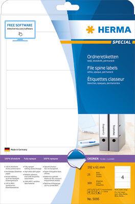 Ordner Etiketten 192 x 61 mm weiß, breit-kurz, blickdicht, HERMA SPECIAL 5095