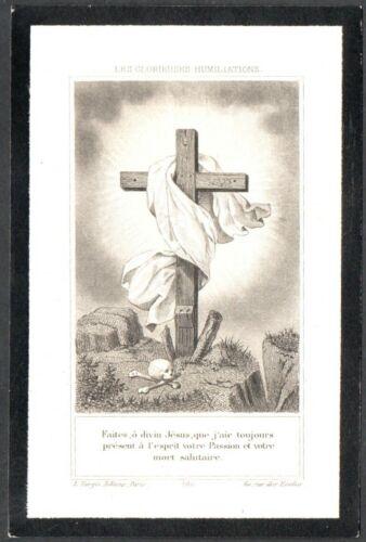 Holy card grabado antique de la Cruz andachtsbild santino image pieuse estampa