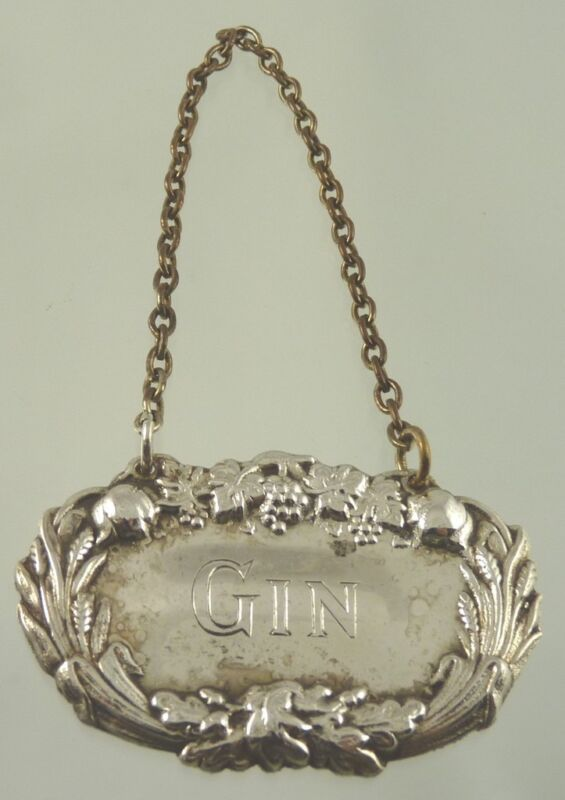 GIN DECANTER LEAF & GRAPE LABEL SILVER PLATE BY AMERICAN unknown MAKER AA