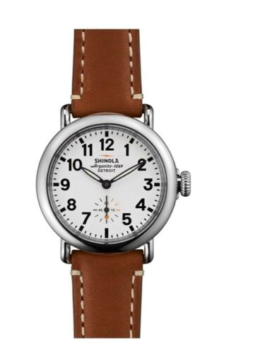 Shinola Runwell  36mm Watch White Face & Tan Leather Strap - UNISEX- NEW IN BOX