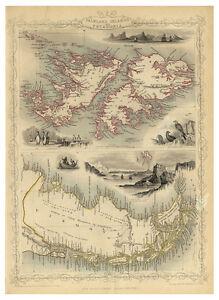 Patagonia-Argentina-Chile-Falkland-Islands-illustrated-map-Tallis-ca-1851