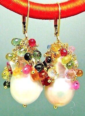 14k Gold GF Baroque Keshi Pearl Multi Sapphire Briolette Gemstone Earrings Multi Drop Briolette Earrings