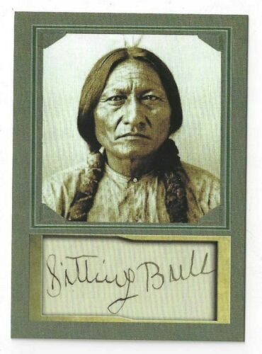 SITTING BULL - ACEO TRADING CARD WITH AUTOGRAPH REPRO - MINT CONDITION