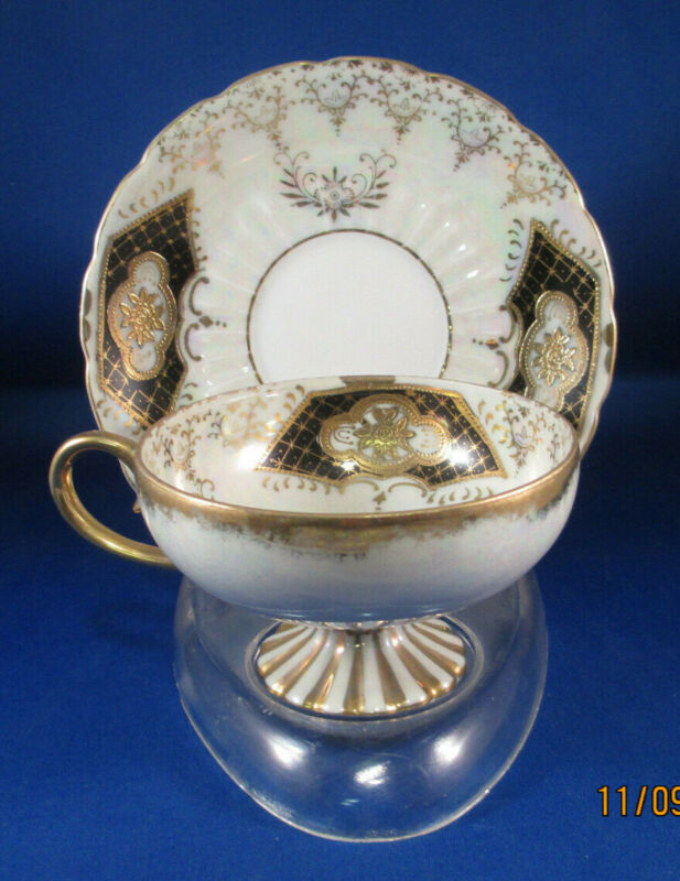 Vintage Tea Cup & Saucer Royal Sealy China Japan Black White & Gold Iridescent