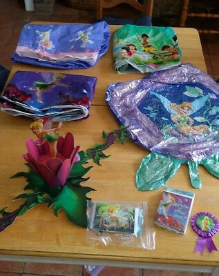 Tinker Bell Fairy Theme Birthday Party Lot of Gently Used Decorations
