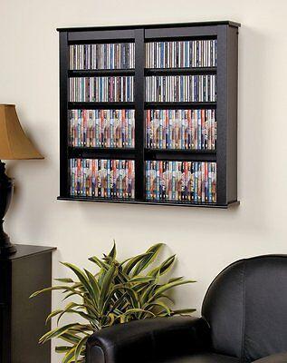 - Black Media Storage Cabinet Wall Hanging Shelf Rack 32
