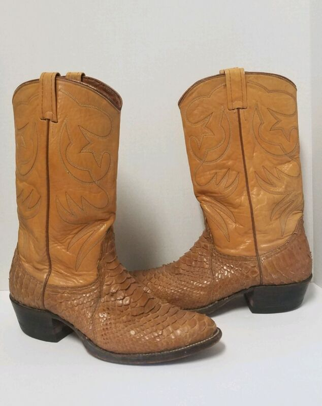 Nocona, Brown, Snakeskin, Leather, Classic, Cowboy, Western, Boots, Mens, 9.5, B